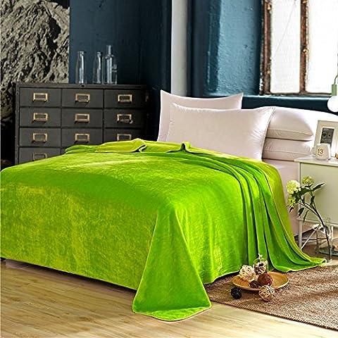 gchris Ultra calda luce divano coperta da viaggio, solido e flanella coperta Autunno e inverno spessore coperte coperta ufficio pausa pranzo, Green, 150cmX200cm