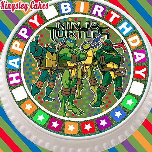 Tortenaufsatz flach, vorgeschnitten, essbar, aus Zuckerguss, Gr. L, 19cm, rund, Motiv: Teenage Mutant Ninja Turtles, mit Bordüre Happy Birthday
