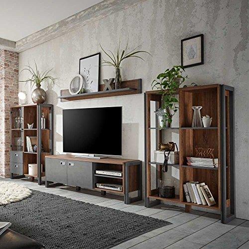 Pharao24 Wohnzimmer Anbauwand in Eiche Dunkel Schiefer Grau Loft Design (4-Teilig)