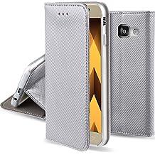 Funda Samsung Galaxy A5 2017 Plata - Flip cover Smart magnética de Moozy® con Stand plegable y soporte de silicona