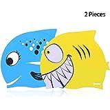 IPOW 2 PCS - Gorros de natación para niños Silicona no tóxica Antideslizante, Impermeable, para el Cuidado del Cabello para n