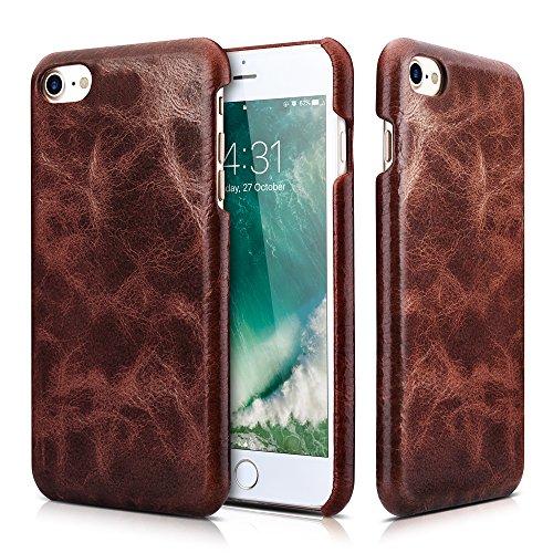 iPhone 8 iPhone 7 Ledertasche Hülle, Icarer Echtleder Premium Leder Abnehmbar 2 in 1 Brieftasche Handytasche Leder Hülle Case für Apple iPhone 7 2016 iPhone 8 2017 4,7 Zool (Braun) Kaffee
