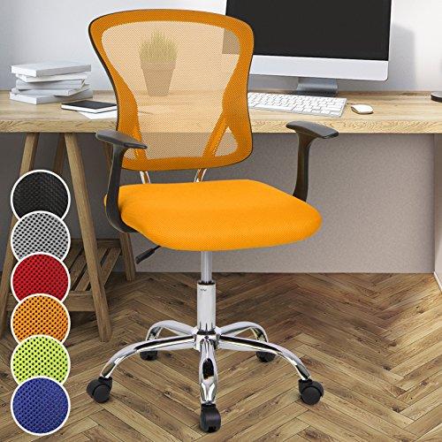 Miadomodo Sedia girevole da ufficio scrivania con sedile imbottito regolabile e schienale inclinabile e regolabile colore arancione