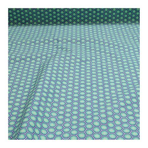Stoff Baumwolle Wabe blau grün Kikko Japanisches Muster