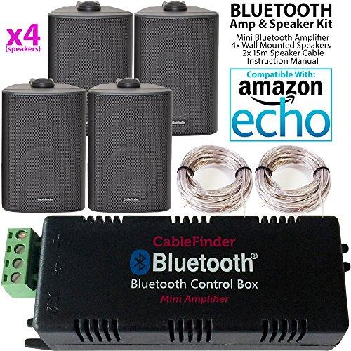Smart Home Bluetooth Verstärker & 4x schwarz Wand montiert-Lautsprecher-Set–Kompakte HiFi Mini/Micro Amp–Badezimmer/Küche Audio Musik Player System–Cablefinder