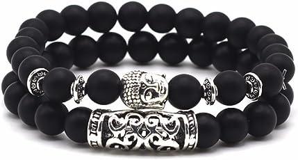 Lion & Son Buddha-Armband Helmet-Men-Bracelet Obsidian Onyx Damen-Perlen-Band Vintage-Mode Gem-Stone