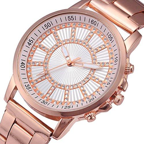 LCLrute Edelstahl Uhr Herrenuhr Mode Kristall Edelstahl Analog Quarz Armbanduhr Armband (Roségold)