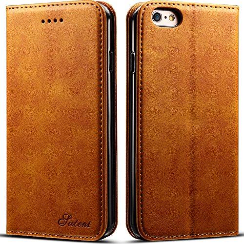 Leder Handy Schutzhülle Beutel Handytasche phone case in Bookstyle mit Kartenfach Geldscheinfach Standfunktion, für iPhone 6 Plus/6S Plus, Gelb (Designer-handtasche Gelbe)