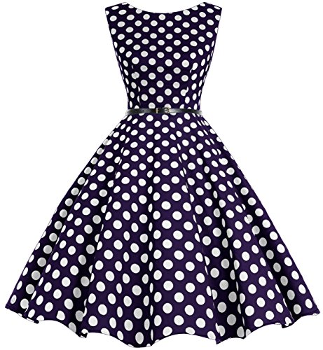 Bbonlinedress 50s Vestidos Vintage Retro Rockabilly Clásico Navy White Big Dot XS