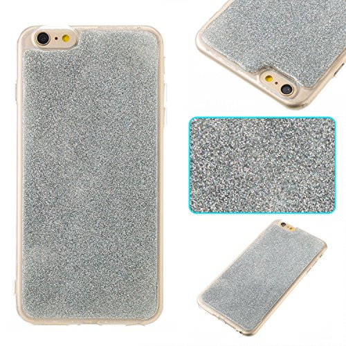 iPhone 6 Plus Hülle, iPhone 6S Plus Hülle, Valenth Bling Sparkly Powder Soft TPU Silikon Stoßstange für iPhone 6 Plus / 6s Plus Silver 6 Plus