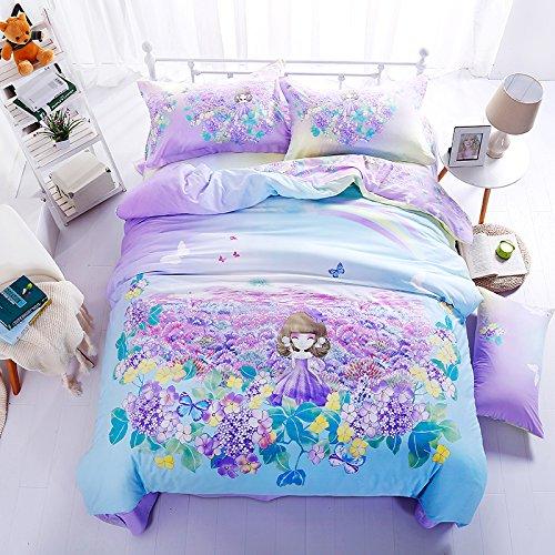 Insgesamt Baumwolle eine ausgestattet 4 Stück 1,8 m Betten 1,5 Bettbezug 2,0m Blätter Doppel aus reiner Baumwolle twill 4 Sätze, Lavendel Hua Xianzi, 1,5 m (5 Fuß) Bett (Lavendel-bett-satz)