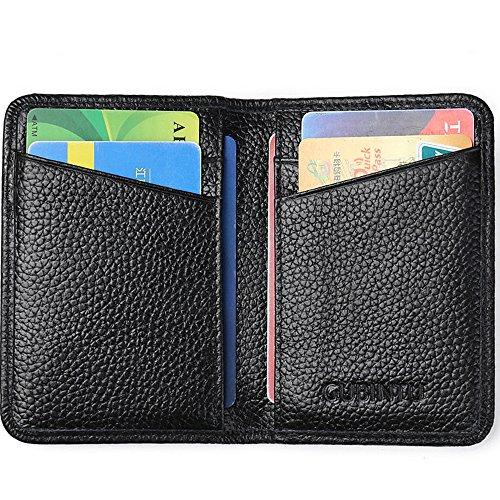 Portafoglio Uomo in Pelle, Portamonete con Protezione Blocco RFID in Vera Pelle, Porta Carte di Credito e Tasche, Portafogli Bifold Sicurezza