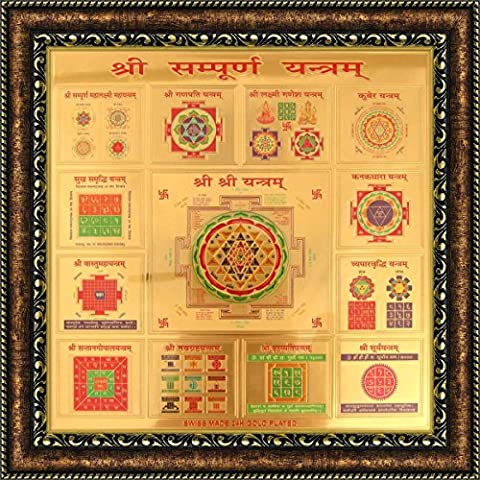 Avercart Vyapar Vridhi Yantra / Powerful MahaYantra to Increase Business - Blessed and Energized Divine Shield Poster 22x22 cm with Photo Frame (9x9 inch framed)