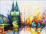 Poster 80 x 60 cm: Kölner Dom Skyline Farbe 4 von Renate