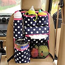 EarthSafe® Sedile posteriore dell'automobile dell'organizzatore, supporto bianco sveglio Pois multifunzionale isolamento bagagli Borsa Cooler Bag iPad (Blu scuro)
