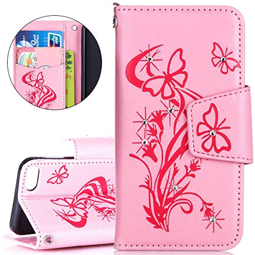 Custodia iPhone iPod Touch 5, ISAKEN Custodia iPod Touch 5, iPod Touch 6 Flip Cover, Elegante borsa Farfalle Design Custodia in Pelle Protettiva Portafoglio Case Cover per iPod Touch 5/6G con Strap /  Diamnate farfalle : rosa
