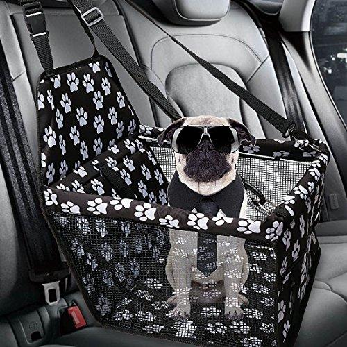 SUPAREE Portable Haustier Auto Booster Seat Faltbarer Hundesitz mit Clip-on Sicherheitsleine/Zipper Aufbewahrungstasche/Seat Belt Tether/Perfekt für Kleine und Mittlere Haustiere