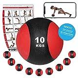 Medizinball Gewichtsball von POWRX 1 - 10 kg | Schwarz / Rot (10 kg)