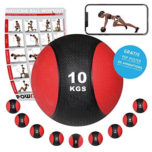 POWRX - Balón Medicinal 10 kg + PDF Workout Negro/Rojo