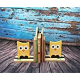 Kaasht Kids Cute Owl Handpainted Wooden Bookend 7x6X3 inches
