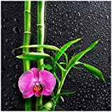 Wallario Sticker/Aufkleber für Kühlschrank/Geschirrspüler/Küchenschränke, Selbstklebende Folie - 60 x 60 cm, Motiv: Bambus und Pinke Orchidee auf schwarzem Glas mit Regentropfen