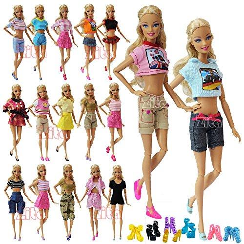 ZITA ELEMENT 5 mode Sommer Short Wear Clothes Outfit +5 Schuhe für Barbie Puppen Kleidung Kostüm-Zufälliger Stil,10 Artikel