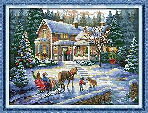 YEESAM ART Neu Kreuzstich Stickpackung - Winter Schnee Weihnachten Xmas Go Home 14 CT 54×43 cm DIY Stickerei Set Weiß Segeltuch - Kreuz Nähen Handarbeit Weihnachten Geschenke Cross Stitch (Designer Christmas Tree Topper)