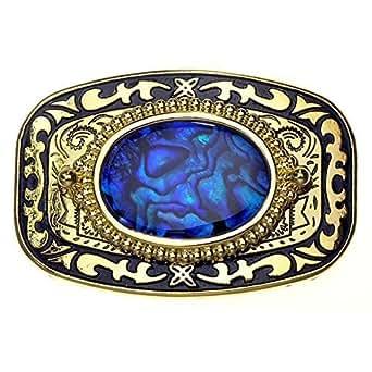 Boucle Or avec pierre nacre véritable en Bleu, Boucle de ceinture