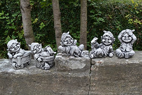 Lustiger kleiner Gnom II Troll Wichtel Fantasiefigur aus Steinguss frostfest - 5