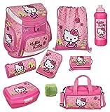 Familando Hello Kitty Schulranzen Set 9tlg. mit Sporttasche, Federmappe, Scooli Campus Up Rosa HKYX8252