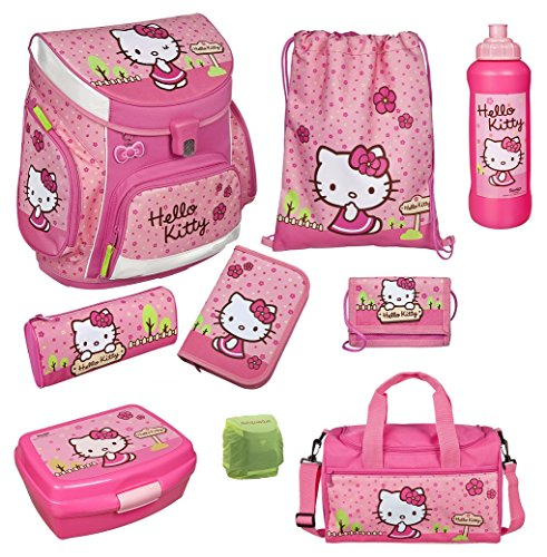 Familando Hello Kitty Schulranzen Set 9tlg. mit Sporttasche, Federmappe, Scooli Campus Up Rosa HKYX8252