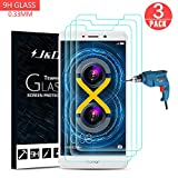 J&D Compatible for 3-Pack Huawei Honor 6X Glass Screen Protector, [Tempered Glass] [Not Full Coverage] HD Clear Ballistic Glass Screen Protector for Huawei Honor 6X Screen Protector