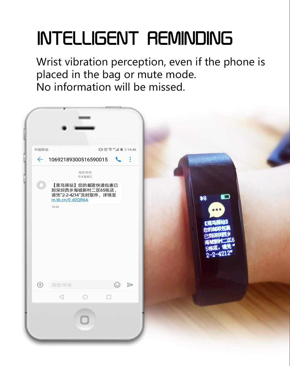 MENGZHEN 1 UNID ID115 Plus Monitor de Actividad del Ritmo cardíaco Pantalla táctil Usable Podómetro Bluetooth Pulsera Inteligente con Monitor de sueño 6