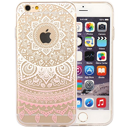 JIAXIUFEN TPU Coque - pour Apple iPhone 6 6S Silicone Étui Housse Protecteur - White Pink Tribal Mandala Color09