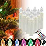 SZYSD 20Stk LED Weihnachtskerzen Kerzen Lichterkette Kabellos Christbaum Baumkerzen RGB Licht