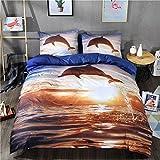 3Bettbezug Sets Sunset Betten Sets Springender Delfin Bettbezug Sets Bettbezug, bedruckt mit Kissenbezüge, Multiplicate, 160*210cm for 1.2M Bed