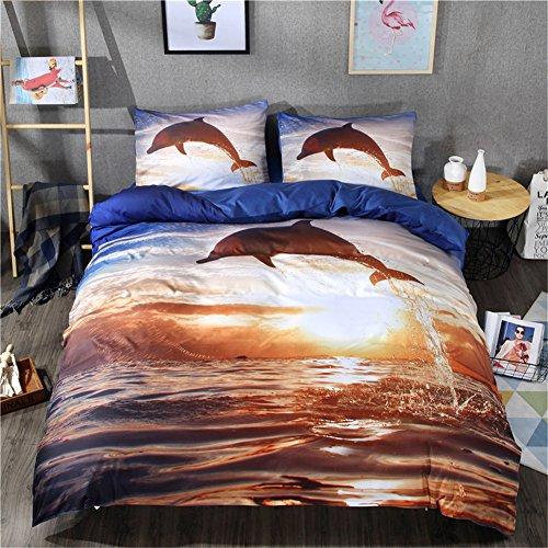 4pcs Housse de couette Définit Parure de lit Coucher de soleil saut de dauphin avec housse de couette Définit Imprimé Housse de couette et drap plat avec taie d'oreiller, Multiplicate, 220*240cm for 1.8M Bed