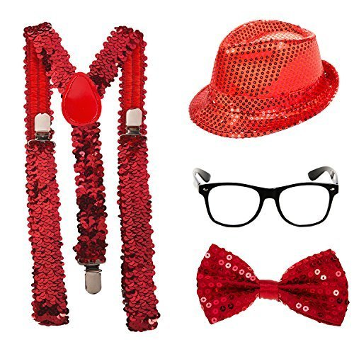 Bow Hosenträger Tie Boys (Pailletten Kostüm–Fliege, Mütze, Hosenträger und Gläser (rot) Gr. 1, multi)