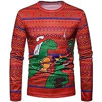 Msliy Camisa de Navidad para Hombre Ropa navideña Sudadera con Estampado de Animales Otoño Invierno Blusa Tops de Manga Larga