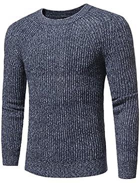Color Uni Hany Hombres Suéter de Punto Slim la Moda Coreana, Azul Marino, XXXL