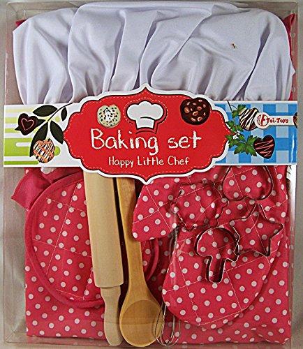 Deluxe Koch Set (Kinder Back Set 11 teilig rot Kinderschürze Backmütze Kochset Kinderbackset für Kinderküche backen)