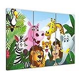 Bilderdepot24 Kunstdruck - Kinderbild Dschungeltiere Cartoon III - Bild auf Leinwand - 90x60 cm dreiteilig - Leinwandbilder - Bilder als Leinwanddruck - Wandbild