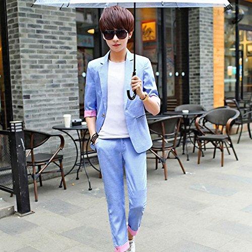 MoMo Suit Zwei Sätze von Kurzen Ärmeln Sommer Herren 'S Kleinen Anzug Slim Casual Persönlichkeit Trend Anzug Anzug,C,XXL -