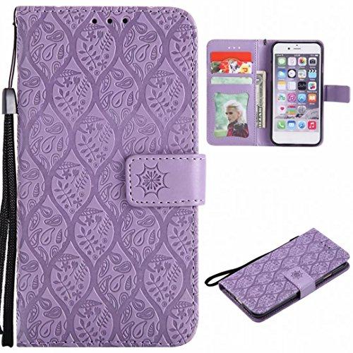 Yiizy Custodie Nokia Lumia 635 / Lumia 630 Cover, Fiori di Rattan Custodia Portafoglio Silicone Flip Cover PU Pelle Cuoio Copertura Schede Cavalletto Stile Libro Protettivo Borsa (Viola Chiaro)