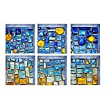 Vitila Badewannenaufkleber des Badezimmers 3D Blaue Mosaikduschraumbadezimmer-Wandaufkleber