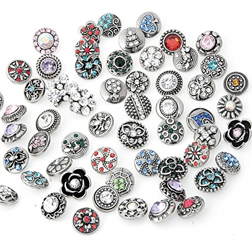 ZALAGO Mix Snap-Buttons Strass Charm Chunk Beads 12MM fuer DIY Schmuck Zubehoer 50Stk