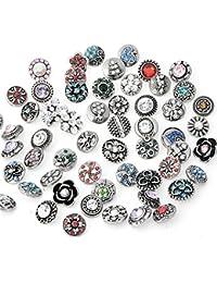 Lot de 50 boutons-pression à strass de 12 mm pour fabrication de bijoux - Mélange aléatoire