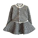 Robe Bébés,Xinan Robe BéBé Filles Longues Manches Robe Enfant Automne Hiver Robe+Chandail Set 2-7 ans (Noir, 3-4T)