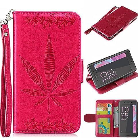 Coque Sony Xperia XA Étui Bookstyle Rose Rouge,Cozy Hut® Motif