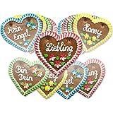 Lebkuchenherzen Mischkarton, verschiedene Sprüche - Menge wählbar - bekannt von der Wiesn/Oktoberfest - perfekt als Geschenk - 12 cm - 10 Herzen (10 x 70 g)